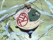 Chōji usando su Jutsu Multi Tamaño en su batalla contra Dosu