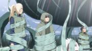 Ino, Shino e Kiba afetados pelo genjutsu