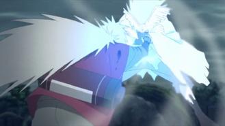 Jiraiya hits Urashiki with Rasengan
