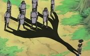 Shikamaru usando el Jutsu Imitación de Sombra en múltiples ninjas de Otogakure