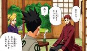 Shikadai siendo recibido por Temari y Gaara