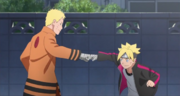Naruto and Boruto fist bump