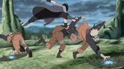 Sasuke evita Naruto e seus clones