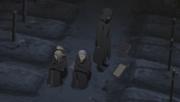 Kabuto junto a Deidara y Hidan comunicándose con Disonas