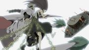 Kushina et Minato transpercés par Kyûbi avant de le sceller en Naruto