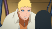 Naruto terminando de hacer reaccionar a Sarada
