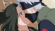 Kakashi e Hanare se beijando