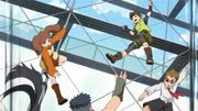 Namida, Wasabi e o garoto derrotam os adversários