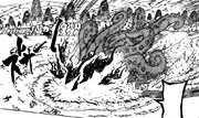 B tenta apagar as chamas (Capítulo 415)