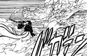 Kurama destrói o golem