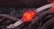Momoshiki liberando un jutsu a través de un avatar canino