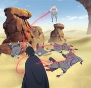 Urashiki perfura Sasuke com sua linha