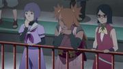 Sumire, Chōchō e Sarada assintindo Boruto VS Iwabee