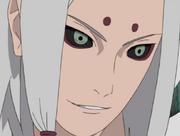 Kimimaro sonriendo tras asesinar a varios samuráis