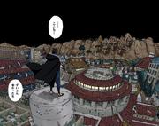 Sasuke observa a Konoha