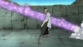 When Danzō is hit by Sasuke's Susanoo arrow…