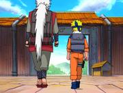 Jiraiya parte com Naruto