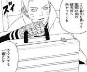 Naruto encarga al Equipo Konohamaru escoltar a Katasuke y el prototipo