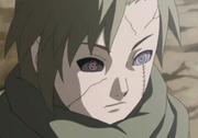 El Sharingan y Rinnegan de Tobi reflejados en los ojos de Yagura