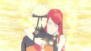 Kushina despidiéndose de Naruto