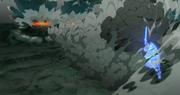 Madara destruye montañas con un simple movimiento de la Espada del Susanoo