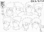 Diseño de Kakashi Expresiones como Jonin por Pierrot