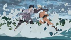 Sasuke combatte contro naruto