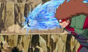 Chōji golpea a Asuma con el Bombardeo de la Bala Mariposa