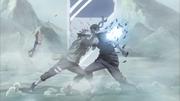 Kakashi acerta Zabuza com Raikiri
