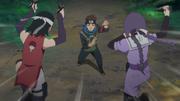 Sarada e Sumire atacam Konohamaru