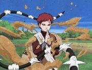 Gaara desviando do ataque de Kimimaro.