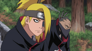 Sasori y Deidara esperando a Hidan y Kakuzu