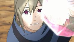 Yukimaru brincando com a luz que o presente de Guren reflete