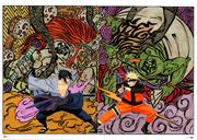 Asociación de Sasuke y Naruto con Raijin y Fūjin
