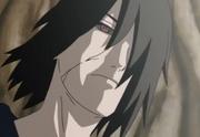 El Sharingan y Rinnegan de Tobi reflejados en los ojos de Utakata