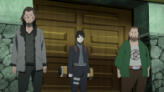 Kiba, Sai and Chōji guarding the Kaminarimon Company