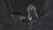 Kinkaku y Ginkaku comiendo carne del estómago de Kurama