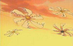 Arte Ninja Floral Flores Voladoras Caida de Follaje