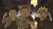 Chōji, Naruto e Shikamaru correndo de Ino