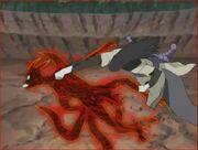 Orochimaru atacando a Naruto