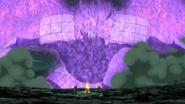 Sasuke pousa com seu Susanoo