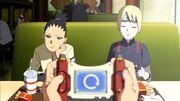 Shikadai et Inojin au fast-food avec Boruto