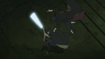 Itachi grabs and jumps over the opponent's shoulder…