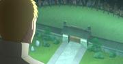 Naruto dando un discurso para calmar la protesta