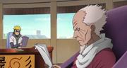 Hiruzen le comenta a Minato sobre las acciones de la Policía Militar