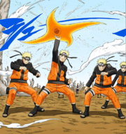 Naruto usando o Rasenshuriken pela primeira vez