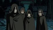 Orochimaru, Sasuke, Jūgo e Suigetsu chegam ao seu destino