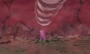 Kiba y Akamaru atacando con su Doble Colmillo de Lobo a Sakon y Ukon