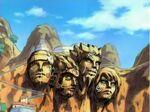 Roca Hokage pintada por Naruto