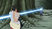 Sasuke stabs Karin and Danzo